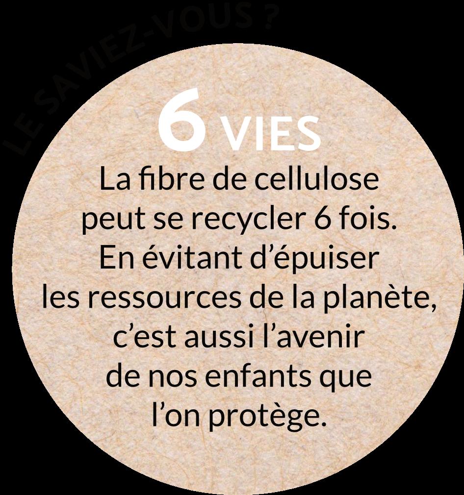 6 vies est le nombre de fois que la fibre cellulose peut être recyclé