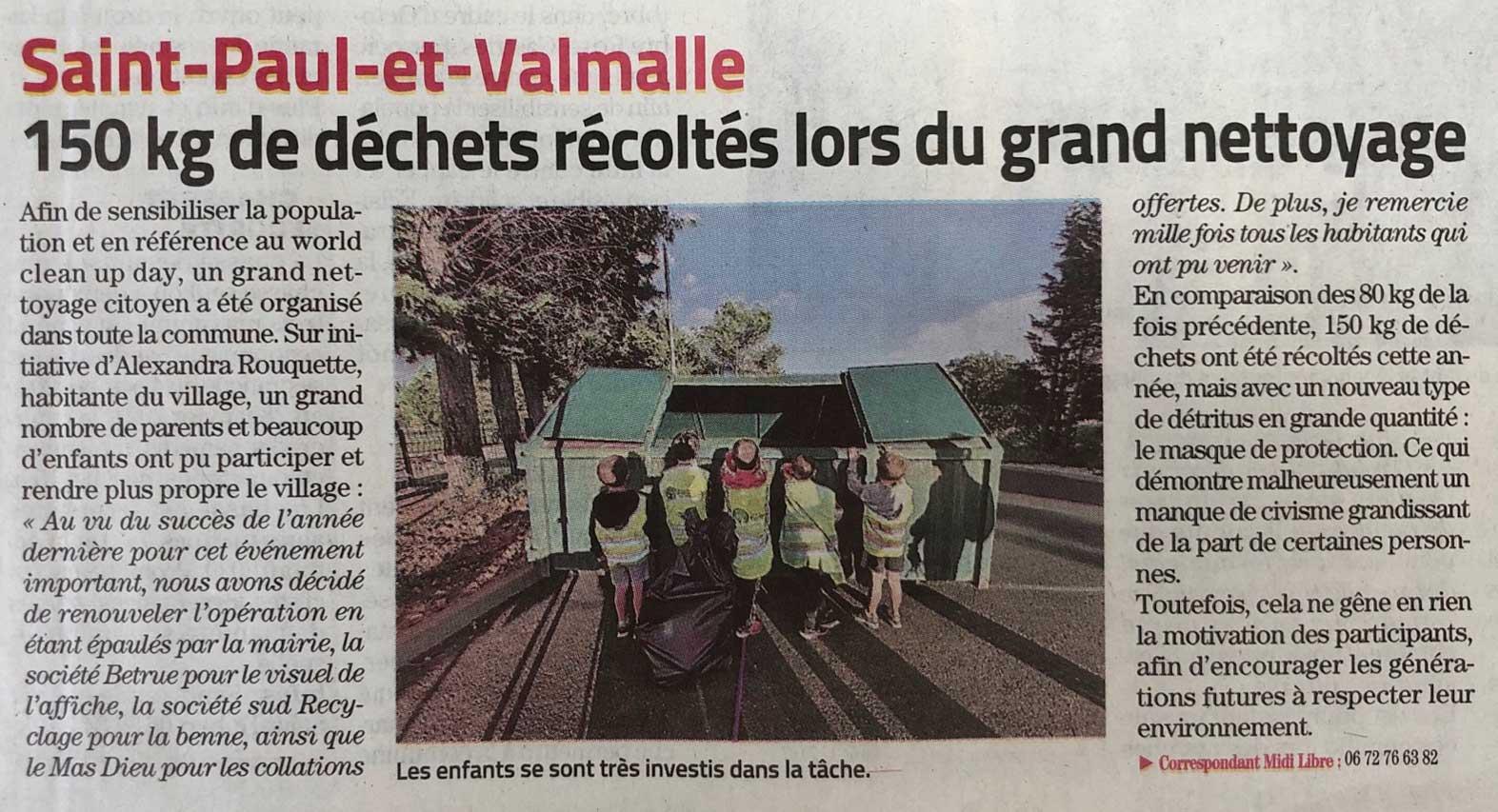 Article presse opération ramassage de déchets