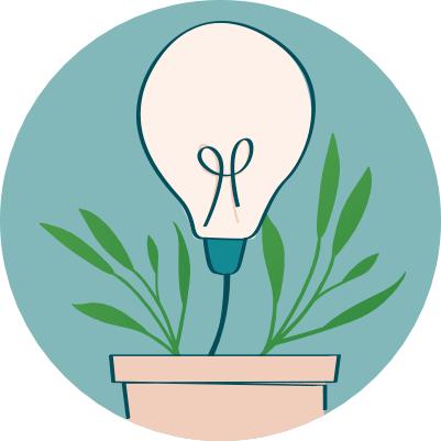 Pot de fleurs avec lampe écoresponsable